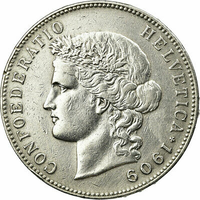 [#456767] Coin, Switzerland, 5 Francs, 1909, Bern, EF(40-45), Silver, KM:34