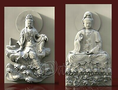2 3D STL Model Guanyin Asia Panel CNC Router Carving Machine Artcam aspire Cut3D