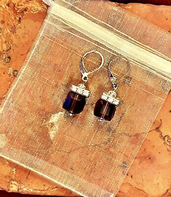 Garnet Crystal Cube Earrings W/ Silver 925 Hardware & Tiny Clear Crystals NEW