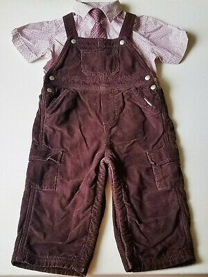 Boys BABY GAP lined brown overalls outfit 18-24 retro button up dress shirt tie