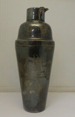 Antique Engraved Silver Plated Cocktail Shaker 1914 Election Day