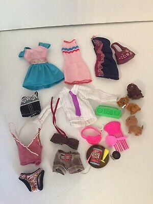 Barbie Outfits Clothing, 3 Dogs, & Food Fanny Pack Etc Lot Euc Rare Items