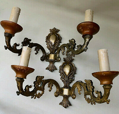 Vintage French Matching Pair Of Brass Double Wall Electric Lights Candle Sconces