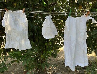 Vintage Childs Christening Baptism Dress Gown Lot Of 2 With Doll Dress