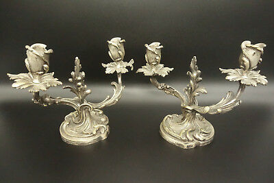 Pair Of Candleholders, Rococo Style, Era 19Th - Bronze - French Antique