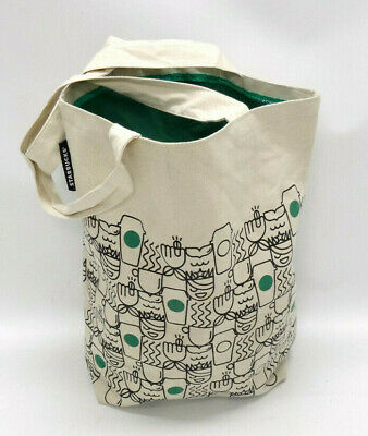 Starbucks Anywhere Canvas Tote Bag ~ Siren ~ Latte~ In Guc