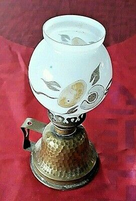 Vintage French Brass Lampe Pigeon Oil Light Lamp Glass Hand Painted