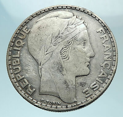 1933 FRANCE Authentic Large Silver 20 Francs Vintage French MOTTO Coin i78796