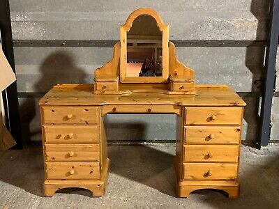 Vintage Ducal solid pine nine drawer dressing table with cheval mirror gallery