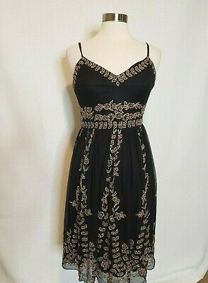 Adrianna Papell Evening Dress Womens Size 8 Black Gold Bead Embellished Party