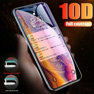 iPhone X XS Max XR 10D FULL Coverage Tempered Glass Screen Protector For Apple