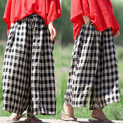 Curations Printed-Border Cropped Palazzo Pant NAVY WHITE M NEW 599-678
