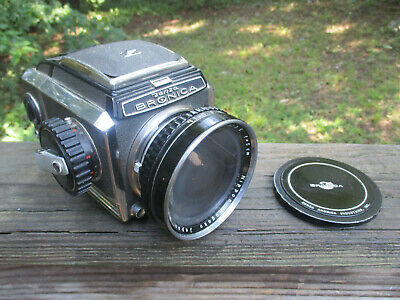 Bronica Zenza Camera Nikkor-H 1:3.5 f=5 cm Lens and Metal Cover and Film Back