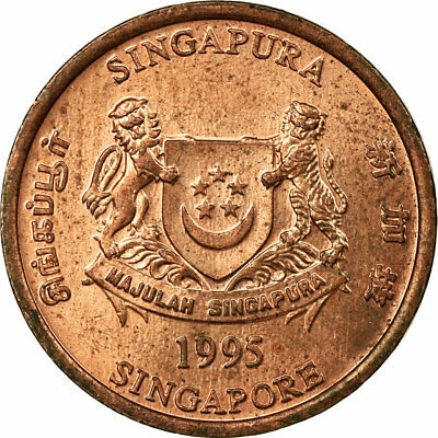 [#694937] Coin, Singapore, Cent, 1995, Singapore Mint, EF(40-45), Copper Plated