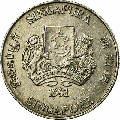 [#686098] Coin, Singapore, 20 Cents, 1991, British Royal Mint, VF(30-35)