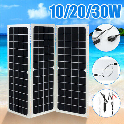 10/20/30W DIY Foldable Solar Panel Camping Cycling Traveling Phone DC