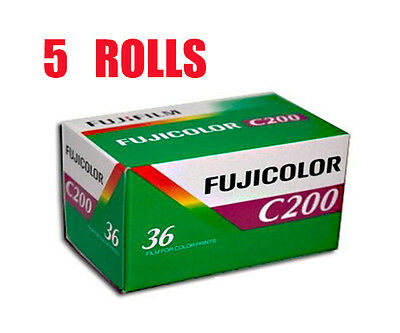 5 Rolls Fujifilm FujiColor C200 35mm-36Exp 135-36 Color Print Film Fresh 2022