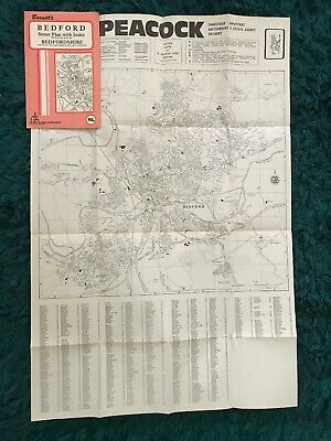 Barnett's Vintage Map Bedford And Bedfordshire Street Plan with index Car Parks