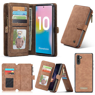 For Samsung Galaxy Note 10 Plus Case Detachable Flip Leather Wallet Zipper Cover