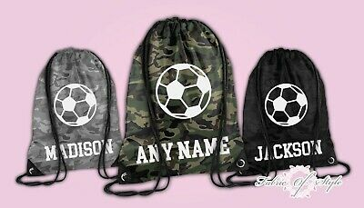 Personalised Football Camo PE Kit School Boys Gym Kids Backpack Drawstring Bag