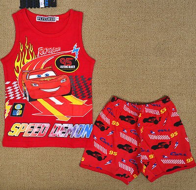 Cars Red Cotton Boy Pyjamas Singlet Set Summer Sleepwear Snug Fit Kids Nightie