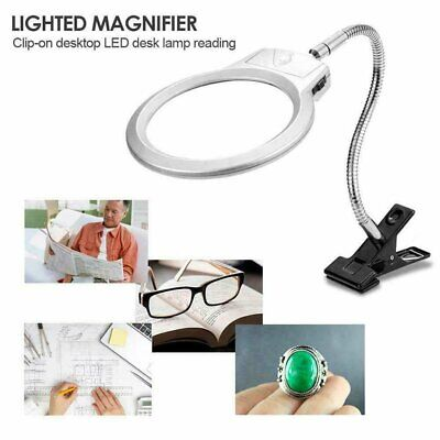 Magnifier Glass Desk Lamp Clip On Clamp With LED Light Stand 5x Magnifying Loupe