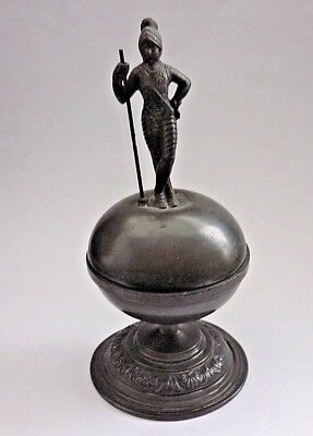 Victorian Antique Circa 1890 Thomas Otley Knight Pewter And Glass Inkwell
