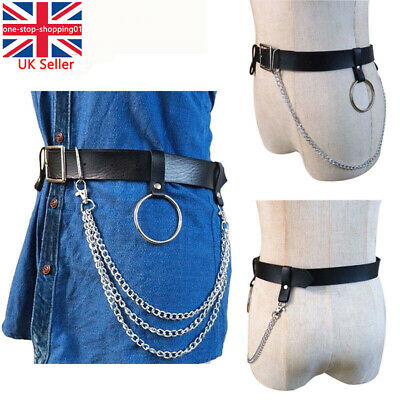 Punk Faux Leather Belt Adjustable Laser Metal Sexy Chain Hoop Rings Waist Strap