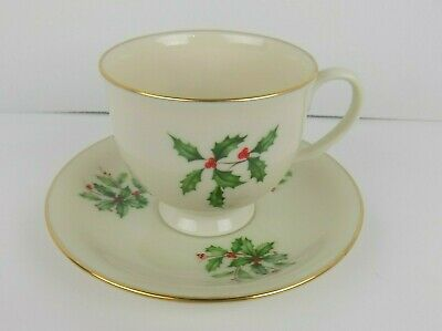 Lenox Holiday (Presidential) Footed Tea Cup & Saucer Set, Fine China Dinnerware