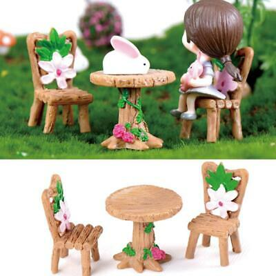 Floral Table Chairs Miniature Landscape Fairy Garden Dollhouse Decor Hot