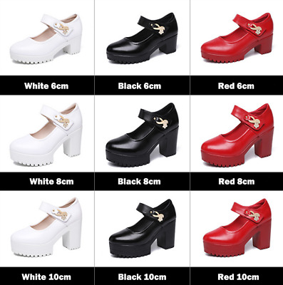 Women Chunky High Heel Wedge Wedding Prom Bridal Party Platform Shoes Pumps New