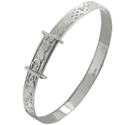 New Ladies Silver Celtic Claddagh Expanding Slave Bangle Jewellery