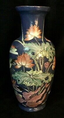 Chinese Porcelain Vase, Blue With Painted Fish, Flowers, Butterflies, And Birds