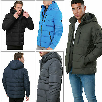 Threadbare Mens Matrix Puffer Jacket Padded High Neck Hooded Quilted Zip Up Coat