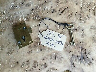 "Vintage Brass Cupboard Lock 1 1/2"" X 7/8"" With One Key"