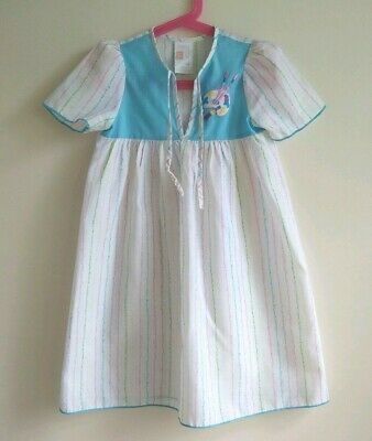 VINTAGE ST. MICHAEL GIRLS STRIPED APPLIQUE 1970's NIGHTDRESS ~ AGE 2 YEARS