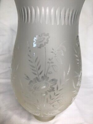 "Antique Frosted Glass Oil Hurricane Lamp Chimney Floral  8"" tall"