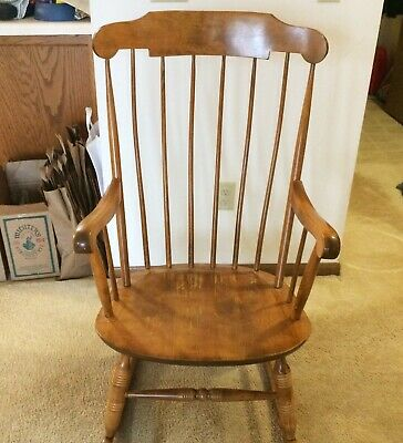Vintage Nichols and Stone Windsor Maple Gardner Mass Wood Rocking Chair