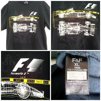 """Florence & Fred Men's Navy Blue F1 Formula One T-Shirt ~ Size Xl (44-46"""" Chest)"""