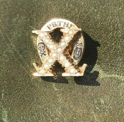 Vintage 1955 10K Yellow Gold Pearl Chi Omega Fraternity Sorority Pin