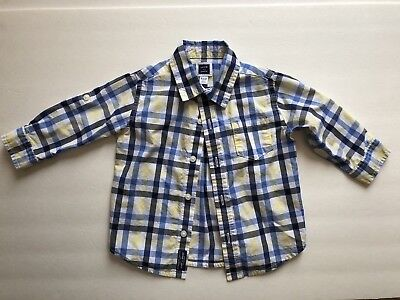 Janie and Jack Button Up Dress Shirt Long Sleeve Baby Boy 6-12 Months Blue Plaid