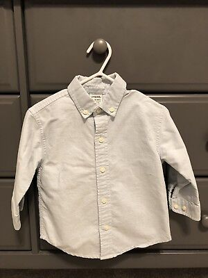 Gymboree Baby Toddler Boy Button Up Dress Shirt Blue 12-18 Months 100% Cotton