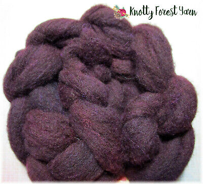 1.5oz Hand Dyed Wool Roving EGGPLANT by Knotty Forest Yarn for Spinning Felting