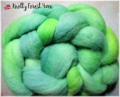 2.5oz Hand Dyed Wool Roving CACTUS GREEN by Knotty Forest Yarn for Spin Felting