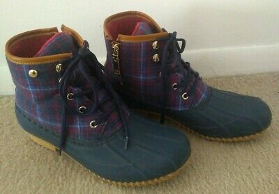 bf61438ed78 TOMMY HILFIGER ROAN Womens Lined Duck Boots Blue Plaid Ankle Boots ...
