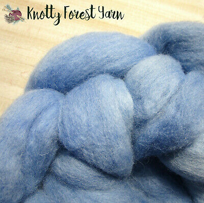 2.8oz Hand Dyed Wool Roving SUMMER SKY by Knotty Forest Yarn Spinning Felting