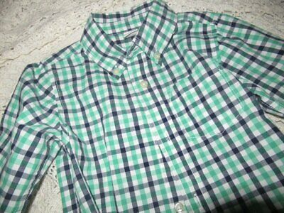 euc Baby Gap green navy check long sleeve button shirt boy 3T free ship USA
