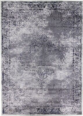 Grey Rug Traditional Classic Vintage Design Faded Distressed Silver Low Pile