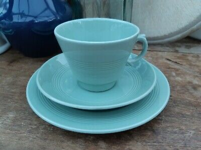Woods Ware Beryl Tea Trio Cup Saucer Plate - Green - 1940's Retro Vintage VGC