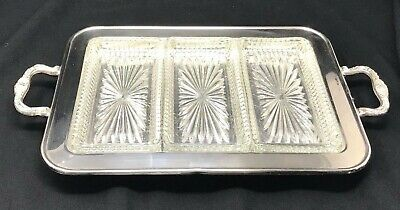 Vintage Leonard Silverplate Footed Serving Tray w/ 3 Glass Inserts